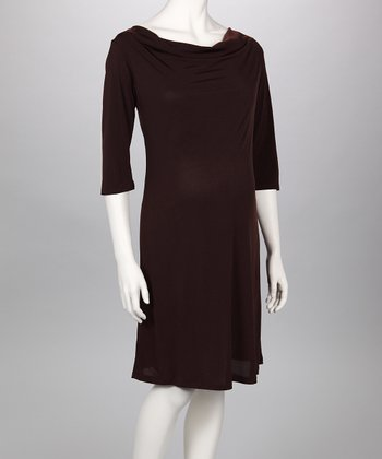 Brown Cowl Neck Maternity Dress