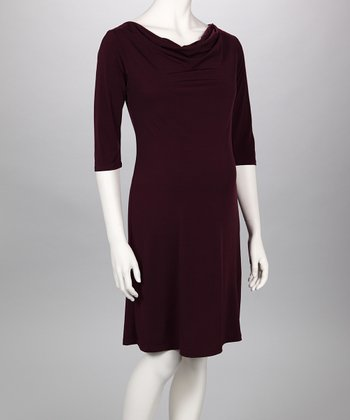Eggplant Cowl Neck Maternity Dress