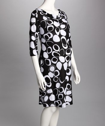 Black & White Cowl Neck Maternity Dress
