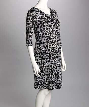 Charcoal & Black Cowl Neck Maternity Dress