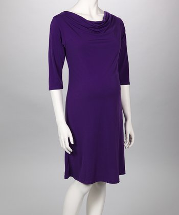 Purple Cowl Neck Maternity Dress
