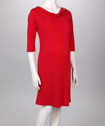 Red Cowlneck Maternity Dress