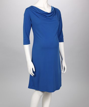 Royal Blue Cowl Neck Maternity Dress