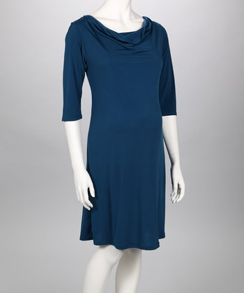 Teal Cowl Neck Maternity Dress