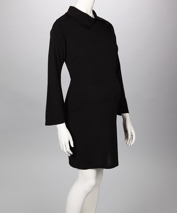 Black Collared Maternity Dress