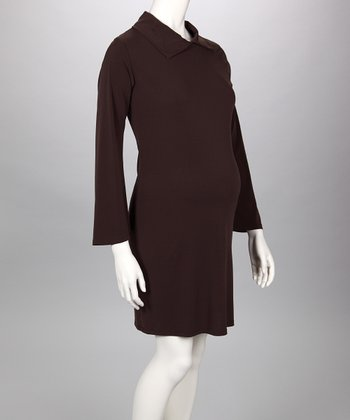 Brown Collared Maternity Dress