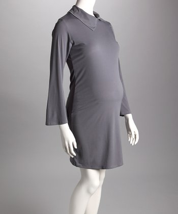 Gray Collared Maternity Dress