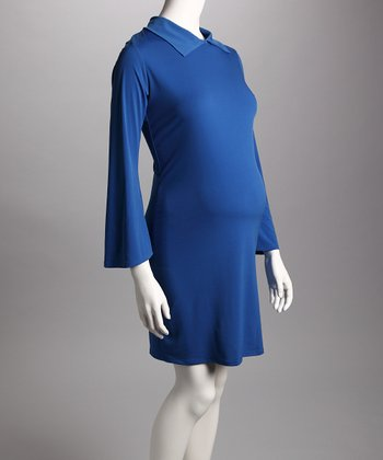 Royal Blue Collared Maternity Dress