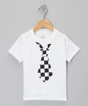 Black Checkered Tie Tee - Infant, Toddler & Boys