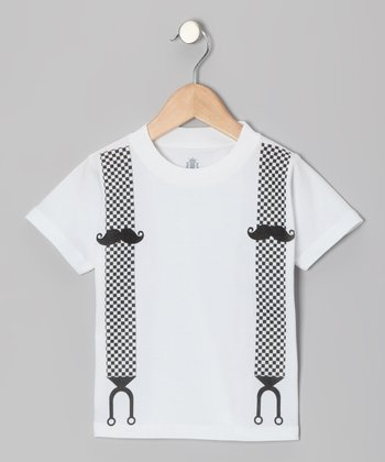 White & Black Mustache Suspender Tee - Infant, Toddler & Kids