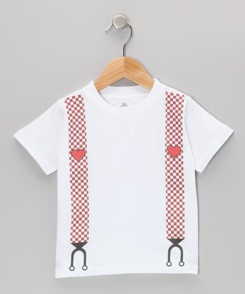 White & Red Heart Suspender Tee - Infant, Toddler & Kids