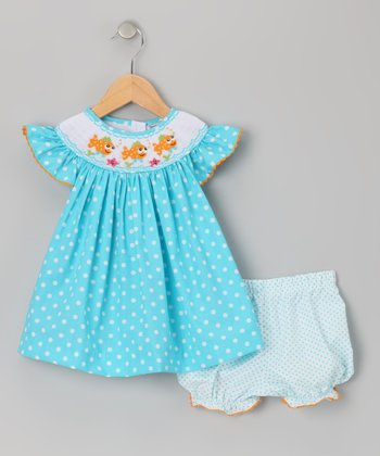 Turquoise Clown Fish Smocked Dress & Bloomers - Infant & Toddler
