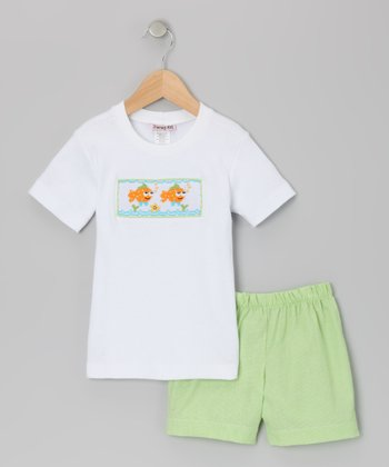 White & Lime Green Clown Fish Tee & Shorts - Infant