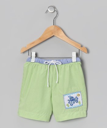 Lime & Blue Gingham Octopus Swim Trunks - Infant & Toddler