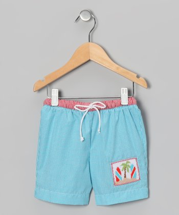 Teal Gingham Surfboard Swim Trunks - Infant & Toddler