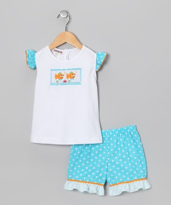 White & Turquoise Clown Fish Top & Shorts - Infant