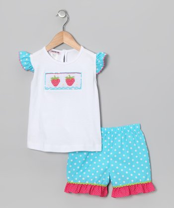 White & Turquoise Strawberry Top & Shorts - Infant