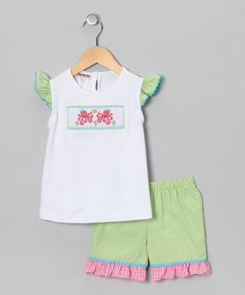 White & Lime Gingham Octopus Top & Shorts - Infant