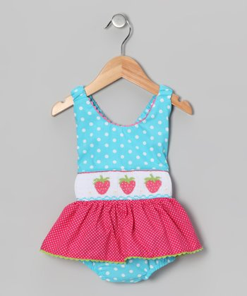 Light Turquoise Polka Dot Strawberry One-Piece - Infant & Toddler