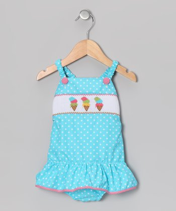 Light Turquoise Polka Dot Ice Cream One-Piece - Infant & Toddler