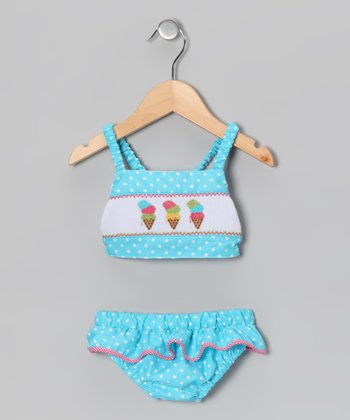 Light Turquoise Polka Dot Ice Cream Tankini - Infant & Toddler