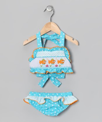 Light Turquoise Polka Dot Clown Fish Tankini - Infant & Toddler