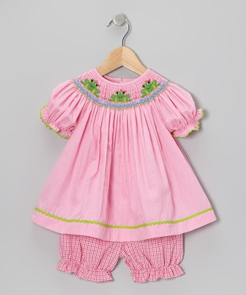 Pink Frog Bishop Dress & Gingham Bloomers - Infant & Toddler