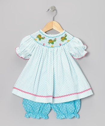 Turquoise Turtle Bishop Dress & Dot Bloomers - Infant & Toddler