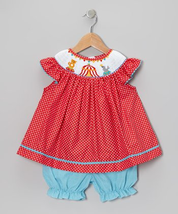 Red Circus Angel-Sleeve Dress & Teal Bloomers - Infant