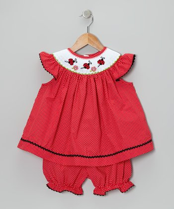 Red Ladybug Angel-Sleeve Dress & Bloomers - Infant & Toddler