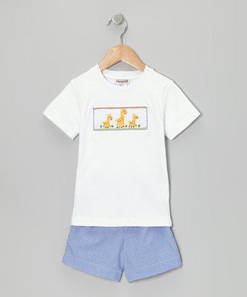 White Giraffe Tee & Blue Gingham Shorts - Infant