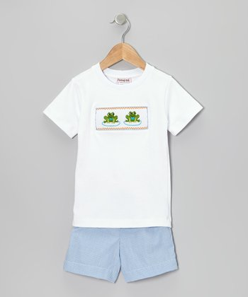 White Frog Tee & Blue Gingham Shorts - Infant & Toddler