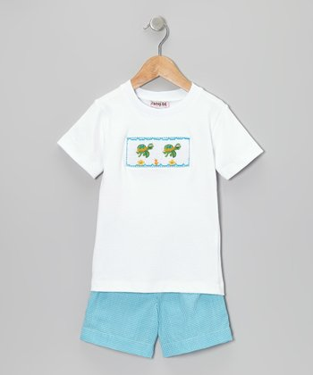 White Turtle Tee & Teal Gingham Shorts - Infant & Toddler