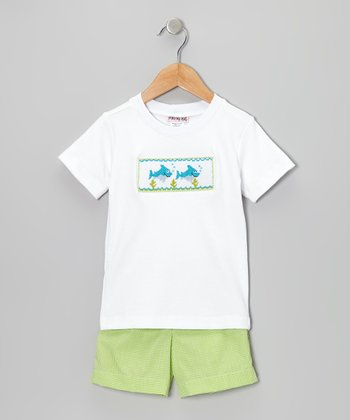 White Dolphin Tee & Lime Green Shorts - Infant & Toddler