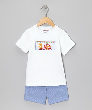White Circus Tee & Blue Gingham Shorts - Infant & Toddler