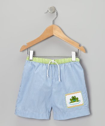 Blue Gingham Frog Swim Trunks - Infant & Toddler