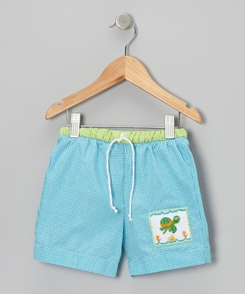 Teal Gingham Turtle Swim Trunks - Infant & Toddler