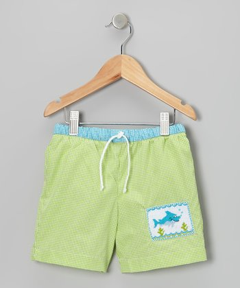 Lime Green Gingham Shark Swim Trunks - Infant & Toddler