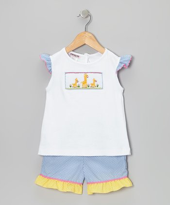 White Giraffe Angel-Sleeve Top & Blue Shorts - Infant & Toddler