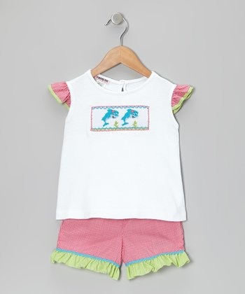 White Dolphin Angel-Sleeve Top & Pink Shorts - Infant & Toddler