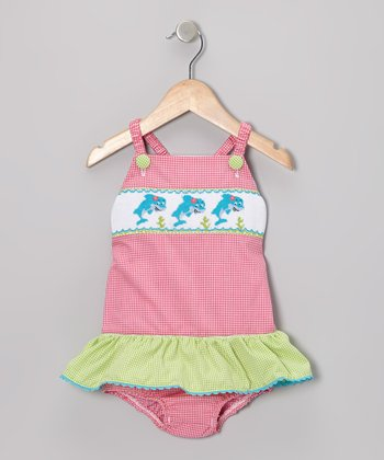 Pink Gingham Dolphin Skirted One-Piece - Infant & Toddler