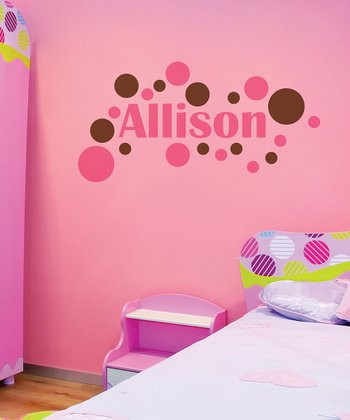 Pink & Brown Modern Dot Personalized Wall Decal
