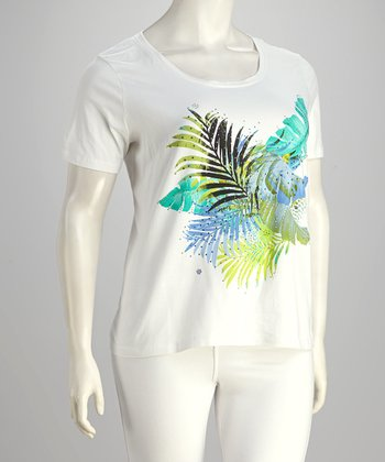 Lime & White Feather Embellished Plus-Size Tee