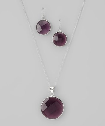 Purple & Sterling Silver Circle Pendant Necklace & Earrings