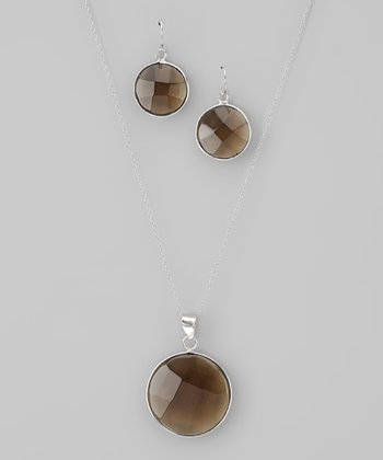Olive & Sterling Silver Circle Pendant Necklace & Earrings