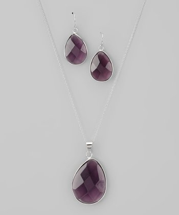 Purple & Sterling Silver Teardrop Pendant Necklace & Earrings