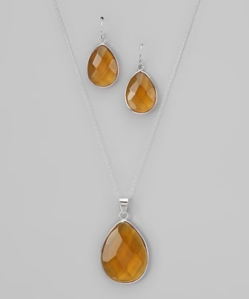 Yellow & Sterling Silver Teardrop Pendant Necklace & Earrings