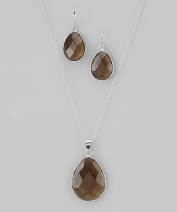 Olive & Sterling Silver Teardrop Pendant Necklace & Earrings