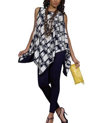 Navy Handkerchief Hem Tunic & Leggings Set - Women & Plus