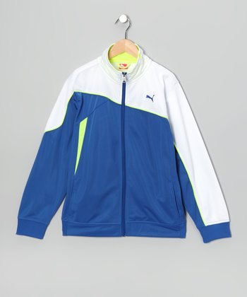 Competition Blue Slanted Zip-Up Jacket - Boys